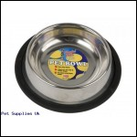8OZ STAINLESS STEEL PET BOWL  W/RUBBER NON SLIP EDGE
