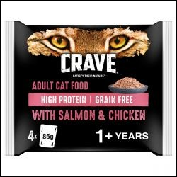 CRAVE Cat Pouch with Salmon & Chicken in Loaf 4x85g