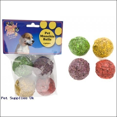 "4 ASSORTED COLOUR MUNCHIE BALL  2"" IN PVC BAG AND HEADER CARD"