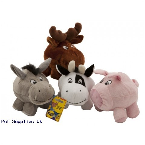 4 ASST CHUBBY VELBOA PET TOY  ANIMALS W/SQUEAKER IN NOSE
