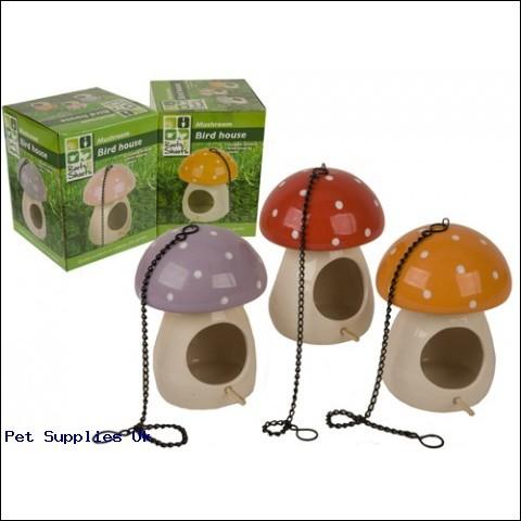 LARGE ASST POTTERY MUSHROOM  BIRD HOUSE W/CHAIN IN BOX