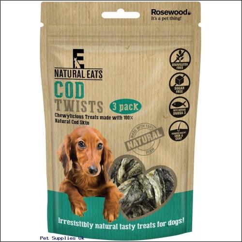 Rosewood Natural Eats Cod Twists Dog Treats, 80 g, Fish, Pack of 12